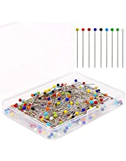 AIEX200pcs 1.5 Inch Sewing Pins Glass Ball Multicolored Head Pins Straight for Dressmaker Jewelry Decoration Sewing Projects