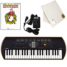 Casio SA-76 44 Key Mini Keyboard Deluxe Bundle Includes Bonus Casio AC Adapter, Desktop Music Stand & Christmas Songs Beginning Piano Solo Songbook