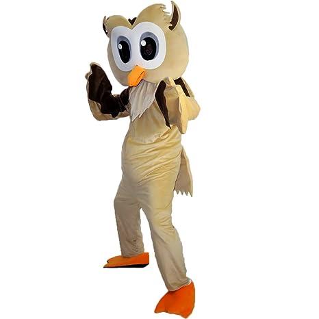 Luz marrón búho dibujos animados mascota disfraz Real imagen 15 ...