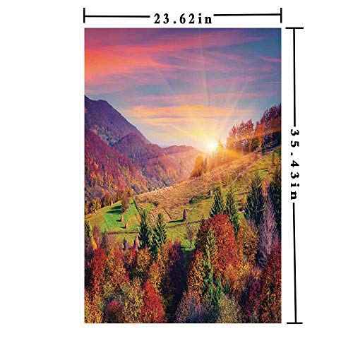 3D printed Window Films Decorative Kitchen Glass Sticker,Pastoral Autumn Morning in Mountain Village Fall Tree Surreal Rural Print Anti UV Heat Control Privacy Kitchen Curtains for Glass, 23.62 x 35