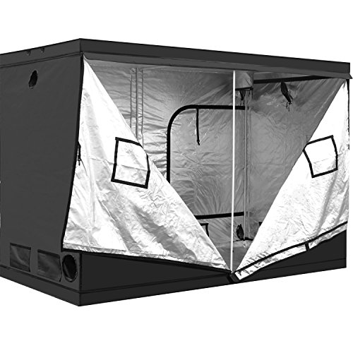iPower 120'x60'x78' 5'x10' Hydroponic Mylar Grow Tent with Observation Window, Tool Bag and Floor Tray for Grow Light and Indoor Plant Growing