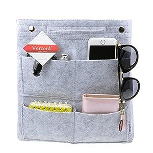 Vercord Long Felt Handbag organizer,Felt Insert Purse Organizer Bag in Bag 17 Pockets Structure Shaper, Light Grey