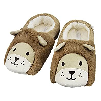 Indoor Cartoon Slippers for Women&Men, Cute Lion Animal Winter Warm Soft Plush Cotton Slip-on Home Slippers Thermal Fleece Mules Non-slip Bedroom Bootie Shoes Snow Ankle Boots