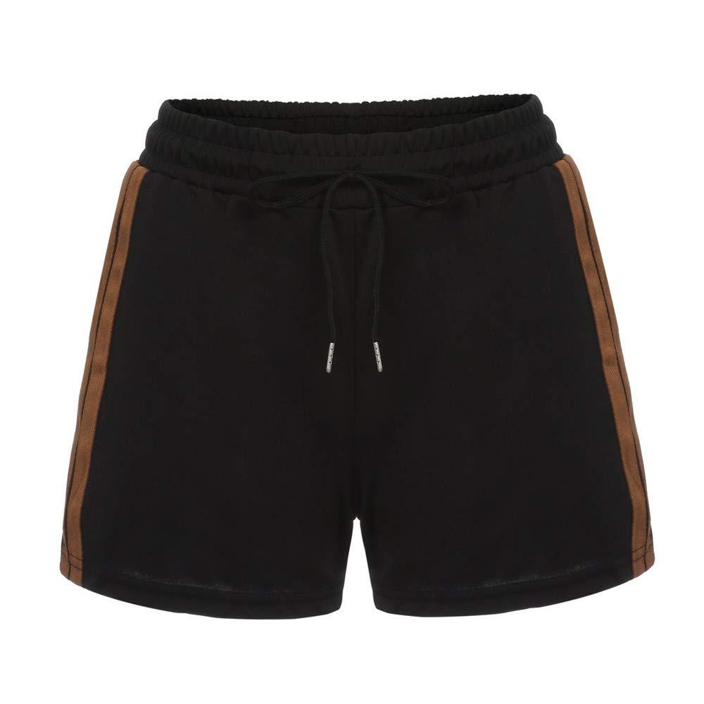 BAOHOKE Casual Wide Leg Drawstring Striped Casual Shorts,Elastic Waist Summer Athletic Pants for Women