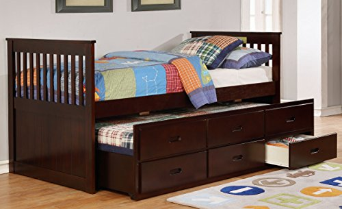 Major-Q Traditional Wood Frame Espresso Twin Captains Bed with Trundle and 3 Drawers (SH4541111T)