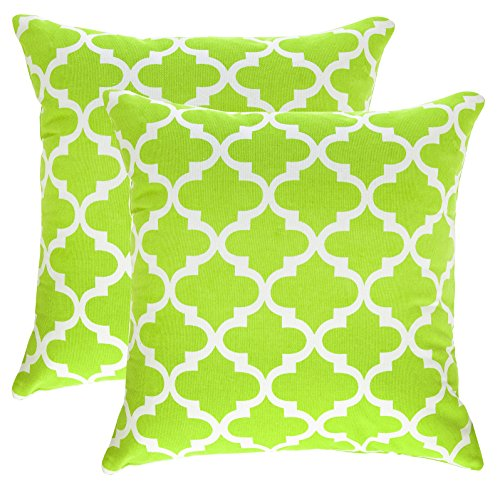 TreeWool, (2 Pack) Throw Pillow Covers Trellis Accent Decorative Pillowcases Toss Pillow Cushion Shams Slips Covers for Sofa Couch (16 x 16 Inches / 40 x 40 cm; Green), White (Green Trellis)