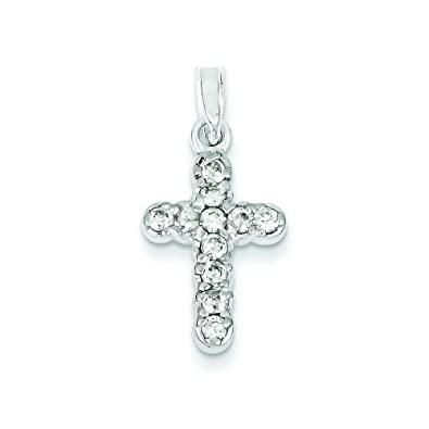 Image Unavailable. Image not available for. Color  Sterling Silver Cz Cross  Pendant c3c26dc400bf