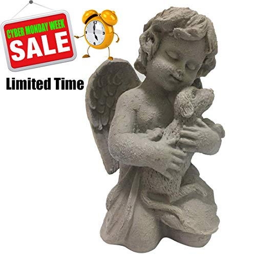 SAVERSMALL Dog Angel Statue,Pet Memorial Figure for Garden,Dog Memory Sculpture Gifts,Puppy Memorial Figurines in Cherub Wings Grave Marker Ornament for Outdoor Yard,Dog Tribute Statue