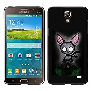 // PHONE CASE GIFT // Duro Estuche protector PC Cáscara Plástico Carcasa Funda Hard Protective Case for Samsung Galaxy Mega 2 / Cat Grey Feline Witch Fairytale Art Big Ears /