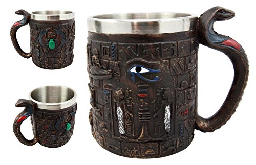 s Eye Of Horus Amulet Wedjat Mug Drink Coffee Cup With Winged Scarab Beetle Hieroglyphs & Cobra Handle Egyptian Themed Decors 12oz (Wedjat Eyes)