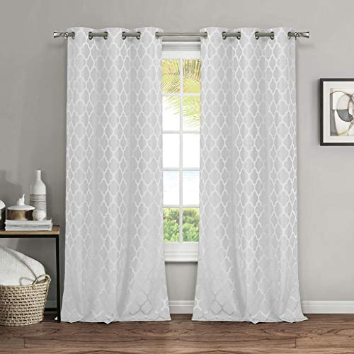 (Vera Neumann - Cassandra Geometric Metallic Textured Grommet Top Window Curtains for Living Room & Bedroom - Assorted Colors - Set of 2 Panels (38 X 84 Inch - White))