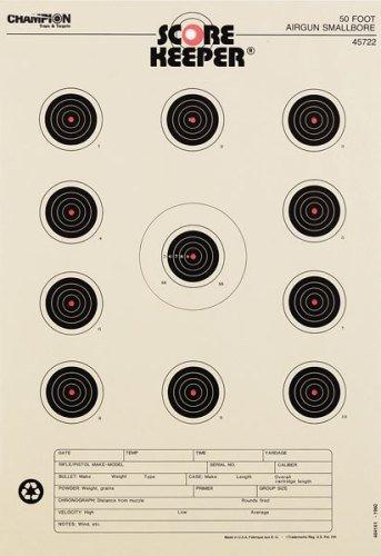 Champion Score Keeper Fluorescent Orange Bull 50-Feet Small Bore Air Gun Target (Pack of - Air Gun Small Bore