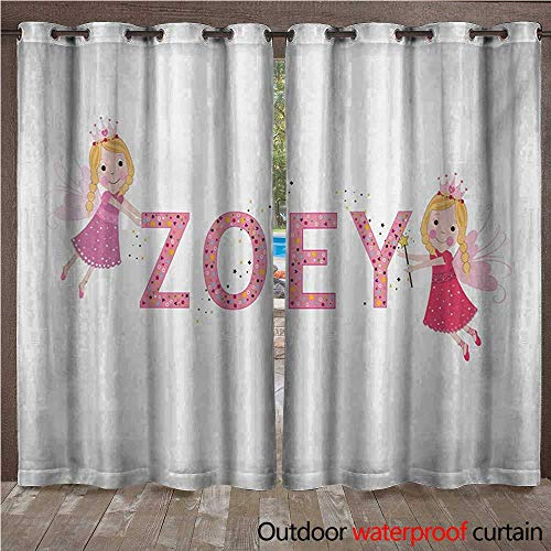 Zoey Outdoor Curtain for Patio Feminine Themed Baby Girl Name Magic Creatures Calligraphic Alphabet Letter Design W84 x L96(214cm x 245cm)