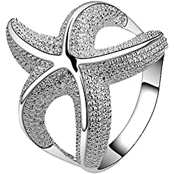 Happy Gogou Fashion 925 Silver Plated Jewelry Chic Curvy Starfish Lovely Party Ring Size 7 8 (8)