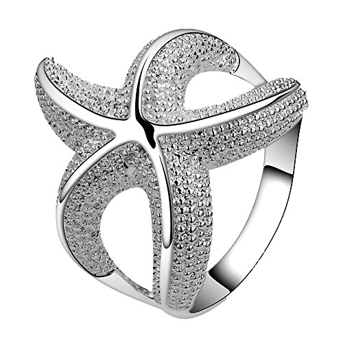 Happy Gogou Fashion 925 Silver Plated Jewelry Chic Curvy Starfish Lovely Party Ring Size 7 8 (Curvy Design Ring)