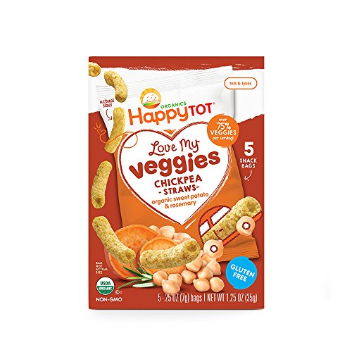 Happy Tot Organic Love My Veggies Chickpea Straws Sweet Potato + Rosemary, 5 Count Box of 0.25 Ounce Packets (Pack of 6) Over 75% Veggies, Crunchy Toddler Snacks, Non-GMO Gluten Free Kosher Dairy