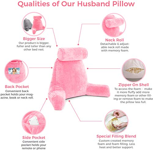 Husband Pillow - Pink, Big Backrest Reading Bed Rest Pillow with Arms, Plush Memory Foam Fill, Remove Neck Roll Off Bungee, Change Covers, Zipper On Shell of Bed Chair for Adjustable Loft