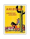 Arizona - American Airlines - Riders on Horseback - Saguaro Cactus, State Flower of Arizona - Vintage Airline Travel Poster by Fred Ludekens c.1960s - Master Art Print - 9in x 12in