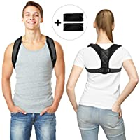 Tuboot Posture Corrector Unisex Flat Back Brace with 2 Pads (Black)