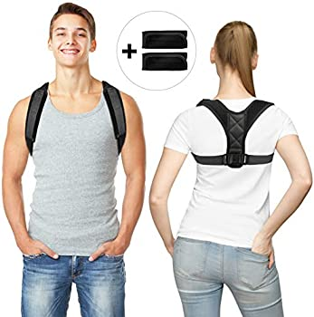 Tuboot Posture Corrector Unisex Flat Back Brace with 2 Pads