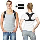 Posture Corrector for Men Women Flat Back Brace Adjustable Support Brace with 2 Pads for Upper Back Shoulder