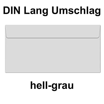 50 Briefumschläge I Din Lang I Din C65 Hell Grau Premium