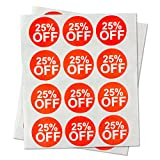 """Garage Yard Sale Price Stickers Labels [25% Percent Off] for Retail Store Clothing Clearance Promotion Discount Deals Circle Tag Labels Stickers (Red and White / 1"""") - 300 labels per package"""