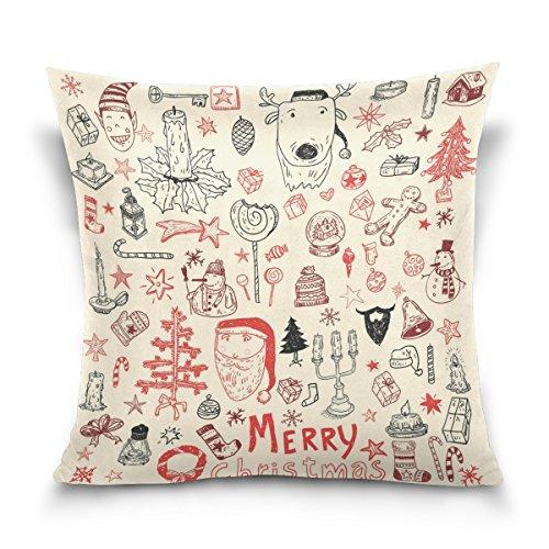Top Carpenter Doodle Christmas Element Wallpaper Velvet Plush Throw Pillow Cushion Case Cover - 18