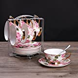 Bone China coffee mug Retro ceramics in Phnom Penh6 set the flower Cup coffee cup-U