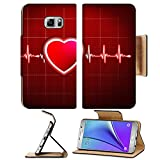 Liili Premium Samsung Galaxy Note 5 Flip Pu Leather Wallet Case Abstract heart beats cardiogram 29534721