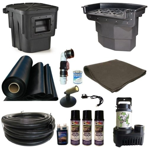 Half Off Ponds' LA4 - 20 ft x 20 ft Large Atlantic Pond Kit w/ 5,500 GPH Pump, Big Bahama 26 Inch Waterfall, & Oasis Skimmer (Gph Pump Waterfall 5500)