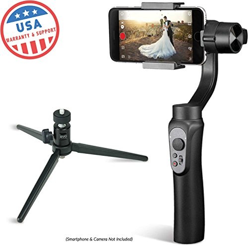 EVO SHIFT 3 Axis Handheld Gimbal for iPhone & Android Smartphones | Black | 1 Year US Warranty | Bundle Includes: EVO Shift Gimbal + Tripod Stand by EVO Gimbals