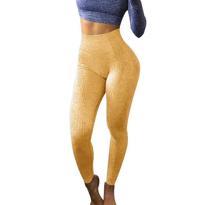 VPASS Mujer Pantalones,Mallas Mujer Fitness Elásticos Mallas Moda Pantalones Color sólido Largos Pantalones Secado rapido Gym Yoga Slim Fit Pants ...