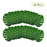 B-COOL Artificial Monstera Leaves 48 Pcs(14''x12'')-Tropical Leaves Decorations Large Palm Tree Leaf for Luau Party Decorations Jungle Party Decorations