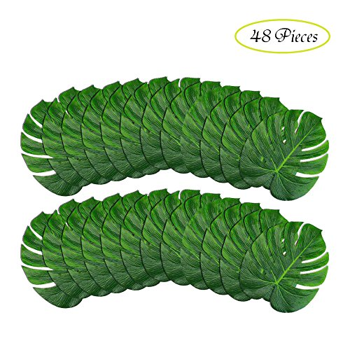 B-COOL Artificial Monstera Leaves 48 Pcs(14''x12'')-Tropical Leaves Decorations Large Palm Tree Leaf for Luau Party Decorations Jungle Party Decorations by B-COOL