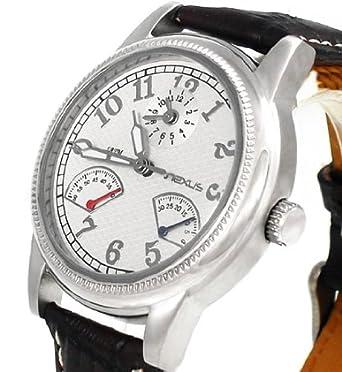 Original Nexus Herren Automatik Armbanduhr NX848 mit Springender Sekundenanzeige Chronograph Look Schwarz Silber