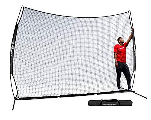 PowerNet 12 ft x 9 ft Sports Barrier Net   108 SqFt of Protection   Safety Backstop   Portable EZ Setup Barricade for Baseball, Lacrosse, Basketball, Soccer, Field Hockey, Softball (Black) (Hockey Net Backstop Indoor)