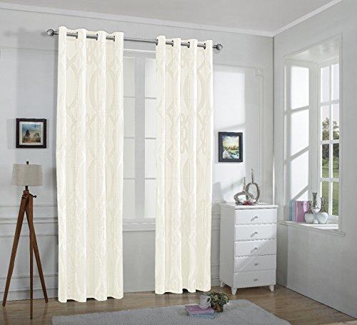 Grommet Top Velvet Panels (Ifblue Window Treatment - Light Filtering Cutting Velvet Sheer Window Curtain Panel With Grommet Top (2-Pack, One Pair) (52