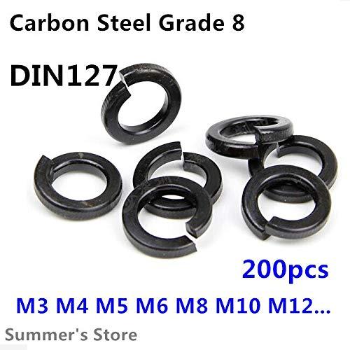 Ochoos DIN127 Lot de 200 rondelles noires M3//M4//M5//M6//M8 3 mm//4 mm//5 mm//6 mm//8 mm Grade 8.8 M5