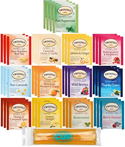 Twinings Herbal Tea Bags - 40 Individually Wrapped Tea Bags, Pure Peppermint, Camomile, Rooibos Red, Honeybush Mandarin Orange, Plus 9 More Flavors - with By The Cup Honey Sticks ()