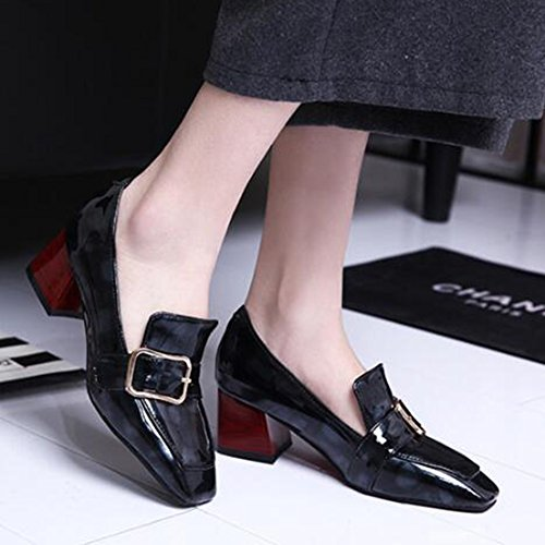 Easemax Womens Fashion Patent Buckle Square Toe Low Top Slip On Mid Chunky Heel Pumps Shoes Black LbPjw1XyS