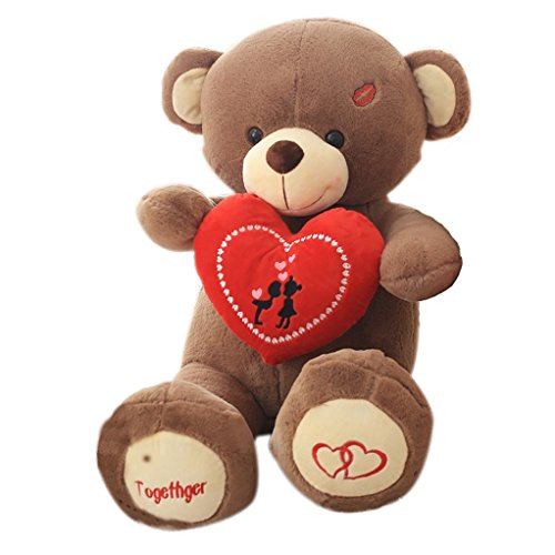 "SUNONE11 37.40"" Girlfriend Valentine Day Gift Lovely Plush Bear Doll Stuffed Animal Pillow Cushion for Couch Home Ornaments Baby Bedroom Sleeping Toy Hold Red Heart"