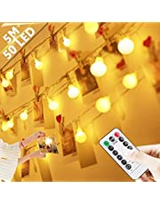 Ball String Lights Fairy Lights -50 LEDs Globe String Lights Battery Powered with [Remote & Timer] 8 Modes for Indoor/Outdoor Wedding Party Home Holiday Decorations(Warm White)