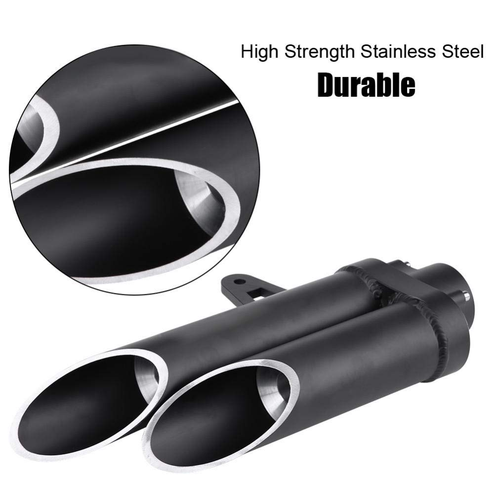 Black KIMISS Motorcycle Double Rear Pipe Tailpipe Muffler 35cm for R6 MT-03 MT-07 MT-09
