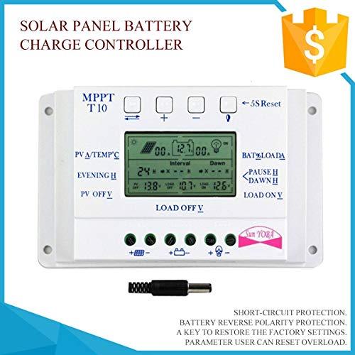 LCD-Anzeige 12V / 24V MPPT Solarpanel-Regler Laderegler 3 Timer Solarkollektor Kurzschlussschutz Gugutogo