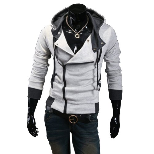 Generic New Fashion Men's Casual Cosplay Costume Hoodie Cardigan Coat Jackets LGrey Large (Assassins Creed 2 Costume)