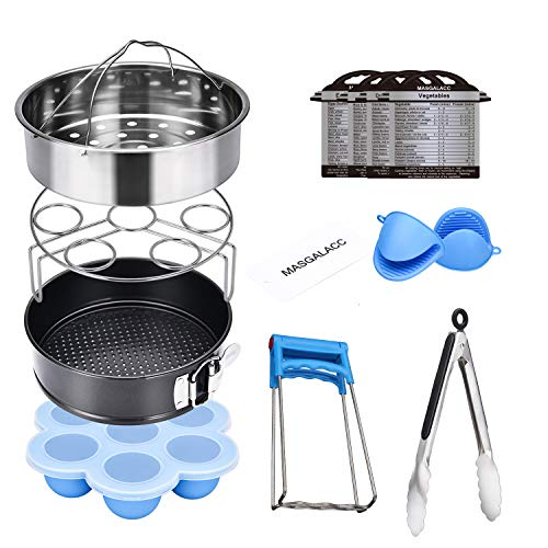 Instant Pot Accessories Set Fits 5,6,8Qt - with Vegetable Steamer Basket, Non-stick Springform Pan,Egg Steamer Rack, Egg Bites Molds,Kitchen Tongs, Silicone Cooking Pot Mitts Idea for Steamer Cookware - Assortment Cheesecake Mini