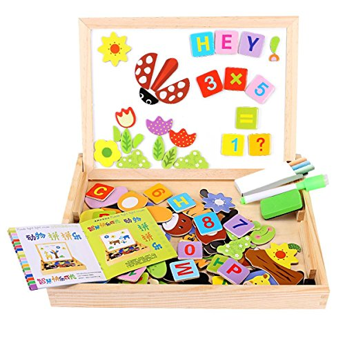 Side Box Boards (156 Pieces Wooden Educational Toy, Seacue Double Sided Drawing Easel Dry Erase Board Puzzles Alphabet Letters, Numbers, Animals Games, Educational Learning Game Toy for Kids)