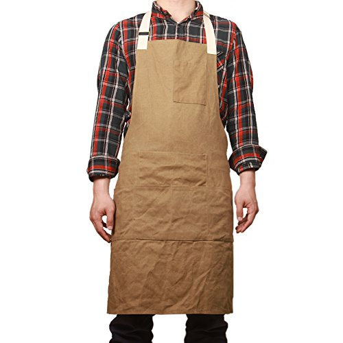 Waxed Canvas Work Safety Tool Apron Utility Garden Workwear Bib Waterproof Heavy Duty Multi-Use Shop Aprons with Six Pockets WQ03-1 by QEES
