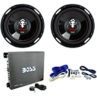 2) Boss P126DVC 12 4600W Car Subwoofers+3400 Watt Mono Amplifier+Amp Kit